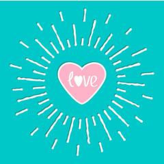 Pink shining heart  word love inside Sun shining effect Flat