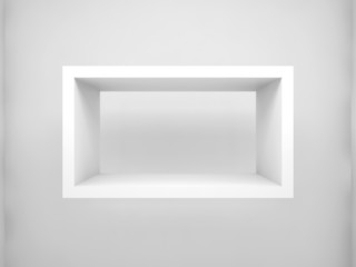 Abstract 3d design element. Empty rectangle white shelf