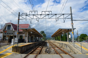 Tenryukyo Railway Station in IIda in Nagano, Japan