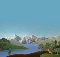 Countryside with deer - alpine landscape made of wool