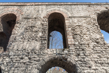 Valens Aqueduct closeup in Istanbul, front view