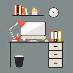 Flat modern design vector illustration of office workspace.