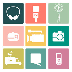 Set of vector journalism icons.