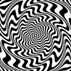 Illusion of  whirlpool movement. Abstract op art illustration.