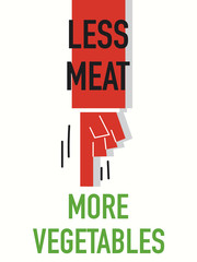 Words LESS MEAT MORE VEGETABLES