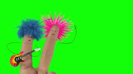 Shaggy punk hair finger man sing love song. Valentines day joke