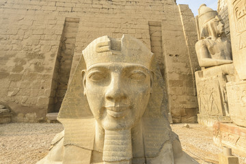 Head of Ramses II at the entrance of Luxor Temple, Egypt