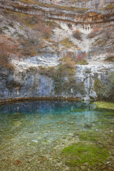 Landscape with natural spring in Covanera. Burgos. Spain