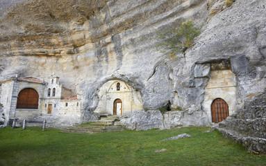 Ancient chapel in a cave. Ojos de Guarena. Burgos. Spain