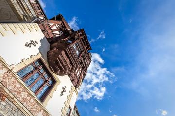 Balcony of a Neo-Renaissance Castle. Peles Castle,Sinaia,Romania
