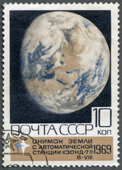 USSR - 1969: shows  shows Photograph of Earth by Zond 7