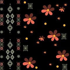 Patchwork retro geometrical floral pattern texture background