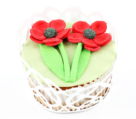 spring flower sweet muffin on white