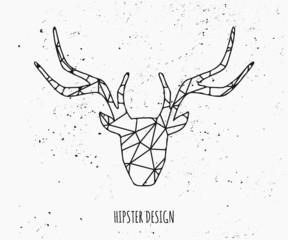 Stylized Deer Head Silhouette Design