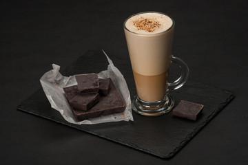 Coffee Latte Or Frappe. Chocolate Chunks. Slate Stone Mat