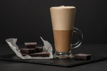 Coffee Latte Or Frappe. Chocolate Chunks. Slate Stone Mat