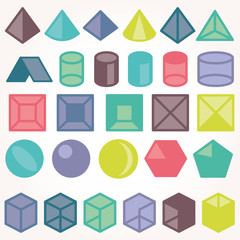Set of icons, geometric logo