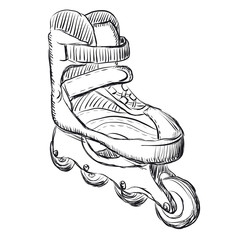 Roller skates sketch illustration