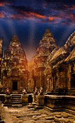 Mystical temples of Cambodia at night, before sunrise
