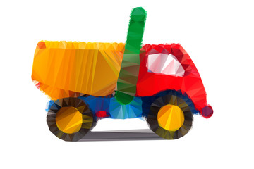 Polygonal illustration of colorful tipper isolated