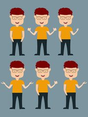 Set of boy cartoon with different gestures.