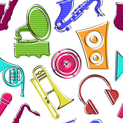 Beautiful musical pattern with colorful instruments.