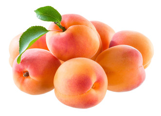 Apricot. Group of fruit isolated on white background