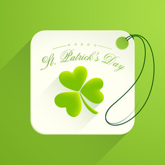 Tag or label design for Happy St. Patrick's Day celebration.