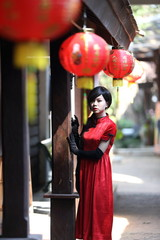 happy Chinese new year. beautiful young Asian woman dress tradit