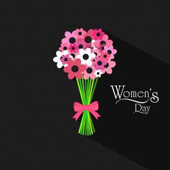 International Women's Day celebration with flower bouquet.