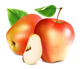 Red apples with slice.
