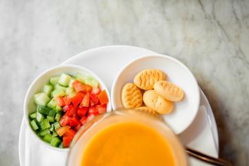 Japanese pumpkin orange soup, salad and bread