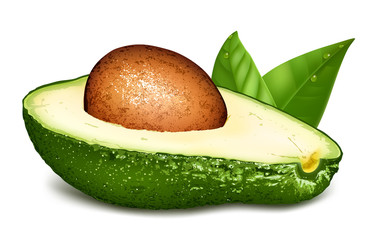 Avocado with core and leaves.