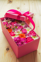 colorful flowers in box