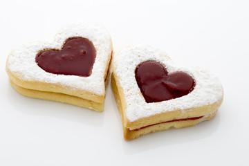 Cookies on  the heart shape isolated on the white background.