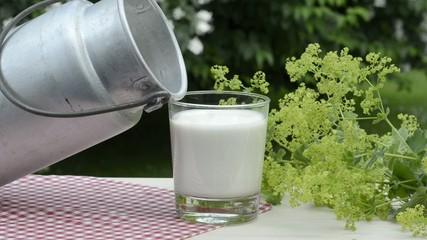 Glas Milch mit Milchkanne