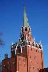 Old tower in Moscow Kremlin. UNESCO Heritage Site.
