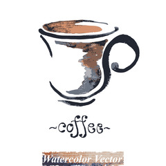A cup of coffee watercolor, vector