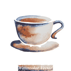 A cup of coffee watercolor,vector
