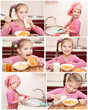 Collection of photos cute little girl having breakfast