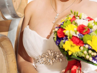 Bride with Colorful Bouquet