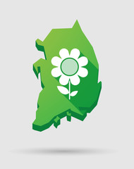 South Korea map icon with a flower