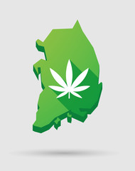 South Korea map icon with a marijuana leaf