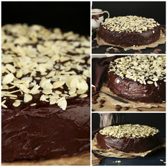 Collage of chocolate cake