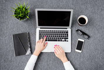 Creative business woman working with computer