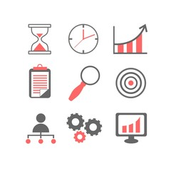 Flat line icons set of business planning process, company