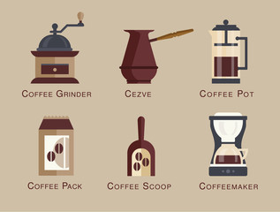 Coffee vector icon set menu Coffee beverages types and