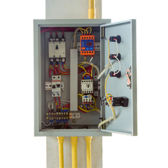close up electrical box with clipping path.
