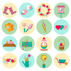 Gardening and spring time icon set.