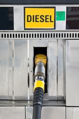 Close up of a diesel gas pump nozzle